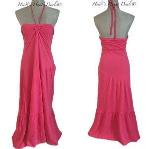 Michael Stars Hot Pink Cotton Tiered Maxi Dress OS